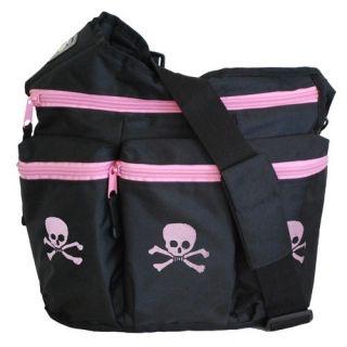 Diaper Dude Diaper Diva Bag Skull Cross Bones Diva Bag in Black Pink