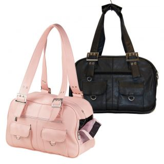 Stylish Faux Leather Pocketed Dog Purse Carrier Pink or Black 10 x 6 x
