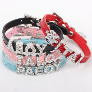 Personalized Cat Small Dog Leather Collar with Rhinestone Letter