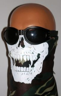 CaMoUfLaGe SKULL FACE MASK Neck Scarf PAINTBALL GREEN ARMY CAMO