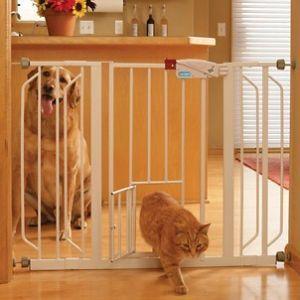 Dog Cat Extra Wide Walk Thru Steel Gate w/ Extensions & Pet Door Fast