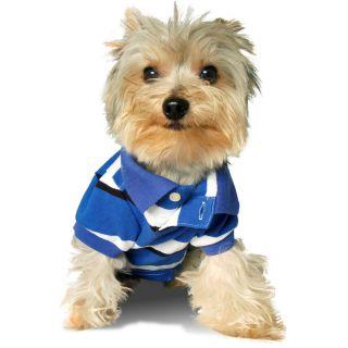 Designer Pet Clothes Cotton Dog Polo Shirt Stylish Stripe Size Small