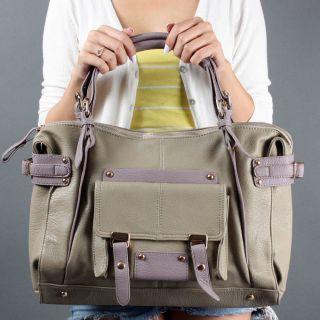 Gray Designer Laptop School Soft Tote Satchel Shoulder Bag Handbag