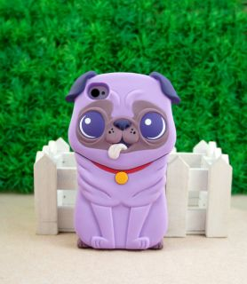 Cute 3D Dog Hard Back Cover Case for Apple iPhone 4 4G 4S Purple ST50