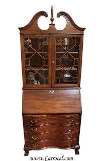 Antique Mahogany Chippendale Cabinet Secretary Desk