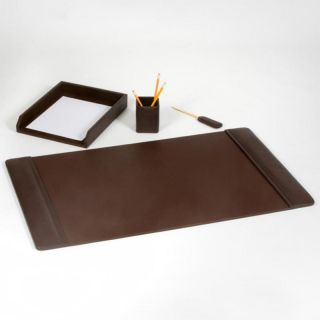 Chocolate Brown Leather 4 Piece Desk Set