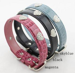 Pet Collars Rhinestones PU Leather High Graded Dog Collar