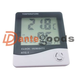 Mini LCD Digital Alarm Clock Thermometer Temperature Time Humidity
