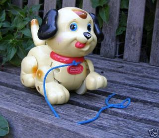 Vintage Fisher Price 1260CJ Hard Plastic Dog Pull Toy