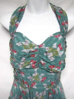 Betsey Johnson Green Butterfly Silk Halter Dress 6