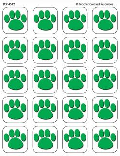 120 Green Paw Prints Stickers Cats Dogs Paws New
