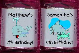 Whales Sharks Dolphins Candy Personalized Wrappers Birthday Party
