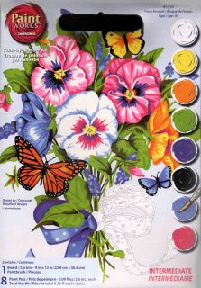 Dimensions Paint by Number Kit 9 x 12 Pansy Bouquet 91394 Sale