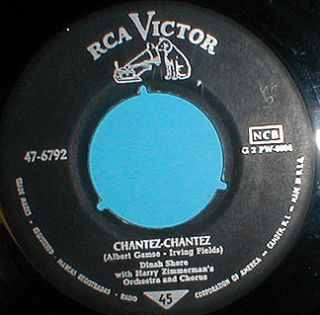 DINAH SHORE Chantez/Honkeytonk Heart RCA Victor German/US 45 oddity
