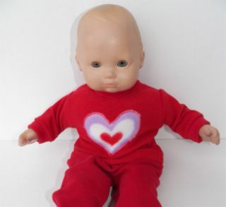 Red Knit Heart Valentine T Shirt Doll Clothes Fits 15 American Girl