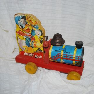 Vintage Fisher Price Pull Toy Donald Duck Choo Choo Train Engine with