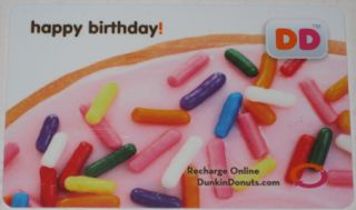 DUNKIN DONUTS COFFEE GIFT CARD HAPPY BIRTHDAY COLLECTIBLE NO VALUE