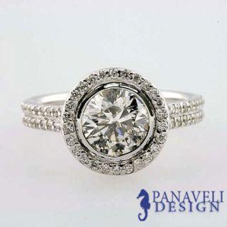 Antique Style 1 90 ct Round Diamond Engagement Ring Platinum