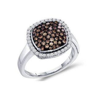 95CT Chocolate Brown Diamond Anniversary Ring 10K White Gold