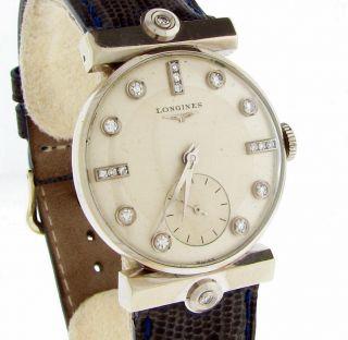 Longines Watch 14k White Gold Diamond Bar Lugs and Dial