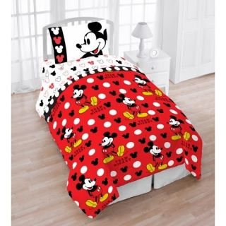 Disney Mickey Mouse Twin 4pc Bedding Set Comforter Sheet Set Single