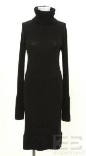 Donna Karan Collection Black Rib Knit Trim Turtleneck Dress Size