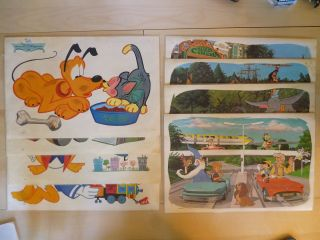 Walt Disney World Disneyland Vintage Placemat Set Lot Mickey Pluto