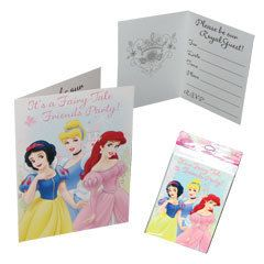 Disney Princess Birthday Party Supplies 8 Invitations