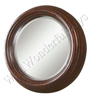 Large Round Wood Frame Wall Mirror Mantel 40D Chestnut