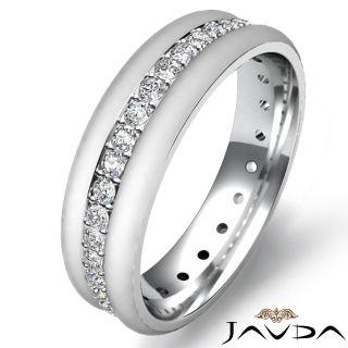 Round Pave Eternity Wedding Diamond Mens Dome Band Ring 18K Gold White
