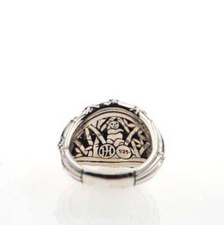 144678 John Hardy Bamboo Silver Diamond Pave Woven Dome Ring 7