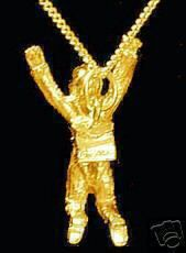 Gold Plated Sky Diver Pendant Charm Parachute Jewelry