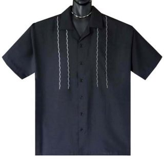 Black Zigzag Dotted Line Retro Mobster Bowling Shirt 4X Big