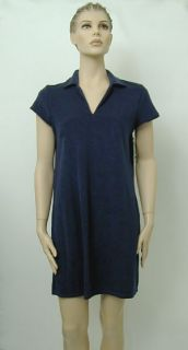 New Womens Dotti Terry Cloth Beach Cover Up Navy s M
