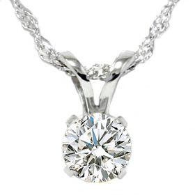 55 Ct Diamond Solitaire Pendant Necklace Set in White Gold