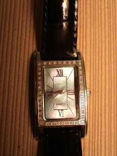 Gems TV Classic Diamond Tank Watch Mother of Pearl Face 270 ct Leather