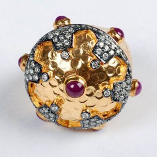 Indian Antique Look Diamond Ruby 18K Gold Ring Jewelry