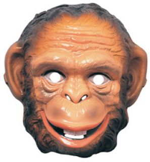 New 3 Adult Monkey Chimp Masks Chimpanzee Ape Plastic Halloween