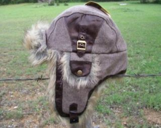 New Wool Trooper Bomber Brown Faux Fur Winter Lined Hat