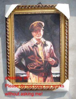 World War 2 Oil Painting General Douglas MacArthur