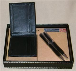 Dockers Mens Black Leather Passcase Wallet Pen Set and Valet Tray