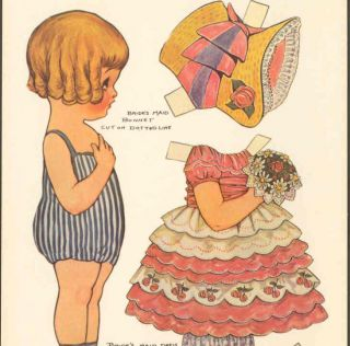 Drayton Paper Doll Dolly Dingle Tottie Bride Postcard