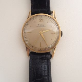 Doxa 14 Karat Solid Gold Vintage Swiss Mens Watch