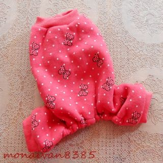 Bow Dots s Red Pet Dog Pajamas Jumpsuit Fleece Dog Clothes Pet