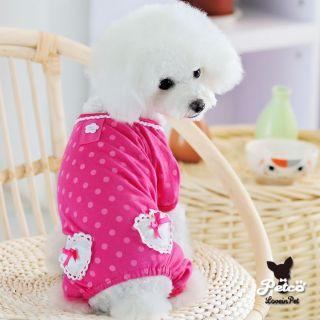 All Size Pink Dots Heart Dog Shirt Pet Jumpsuit Pajamas Dog Clothes