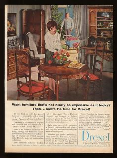 1965 Drexel Furniture French Dining Room Set Print Ad