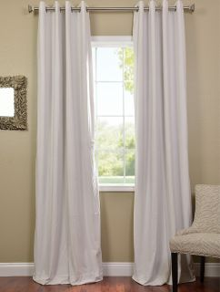 Off White Grommet Velvet Blackout Curtains Drapes