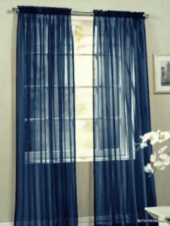 4pcs Solid Navy Blue Sheer Voile Curtain Window Panels 60x84 Each