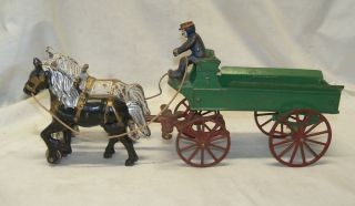 Antique Kenton Toys Cast Iron Horse Drawn Green Wagon w/ Driver Toy