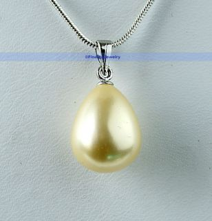 Large 14mm Shell Pearl Gold Drop Necklace Pendant Great Gift